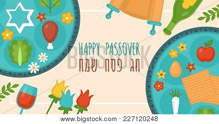 Passover Holiday Banner Design With Seder Plate, Matzo And Spring Flowers