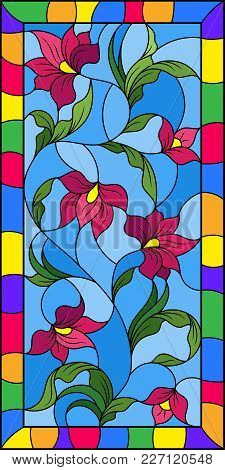 Illustration In The Style Of Stained Glass With Intertwined Abstract Pink  Flowers And Leaves On A B