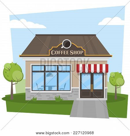 Building A Cafe With A Spring Summer Landscape. Coffee Shop. City Cafe. Vector Illustration.
