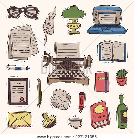 Writer Office Vector Writing Business On Typewriter And Copywriter Writes Book On Paper In Notebook