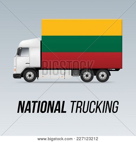 Symbol Of National Delivery Truck With Flag Of Lithuania. National Trucking Icon And Lithuanian Flag
