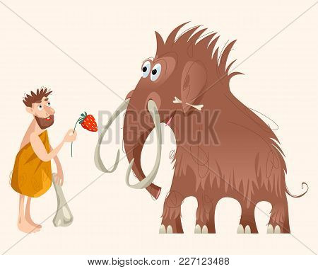 Caveman And Mammoth. Ice Age. Vector Illustration