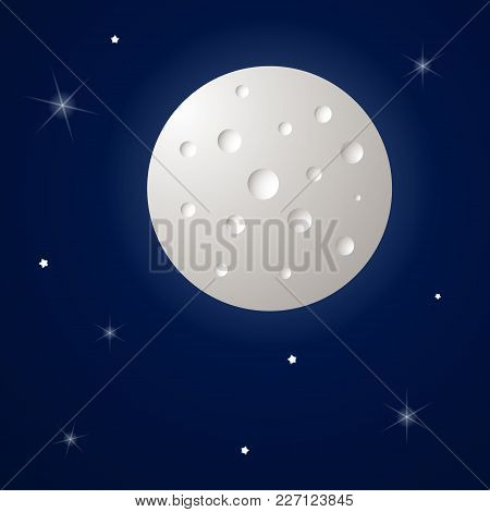 Space Background With Moon And Stars. Vector Illustration