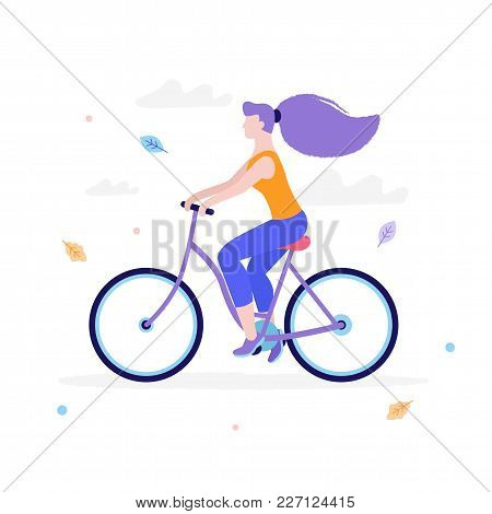 Slim Girl Riding A Bicycle In Flat Design Isolated On White Background. Woman S Activity At The Park