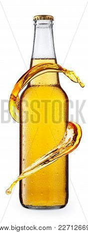 Cold Beer In Glass Bottle With Drops, Isolated On White Background. Beer With Condensation. Splash O