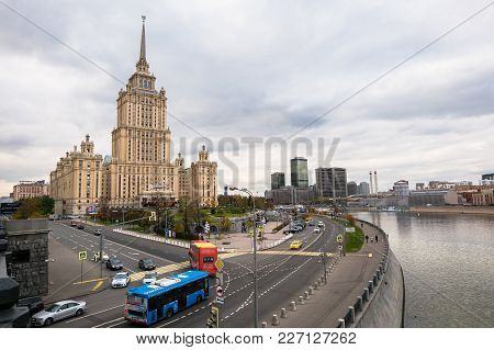 Moscow, Russia. October,24.2017: Skyscraper In Soviet Empire Style - Building Of The Soviet Hotel `u