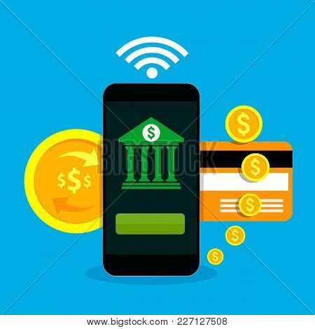 Concept For Mobile Banking And Online Payment. Smartphone With Mobile Banking Application On A Scree