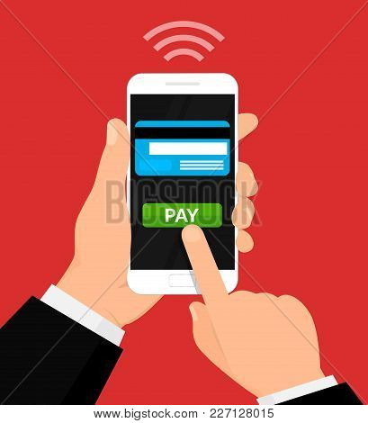 Wireless Payment Illustration. Money Transaction, Mobile Banking And Mobile Payments. Vector Illustr