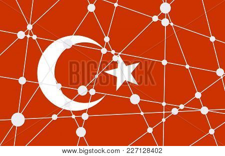 Flag Of The Turkey. Low Poly Concept Triangular Style. Molecule And Communication Background. Connec