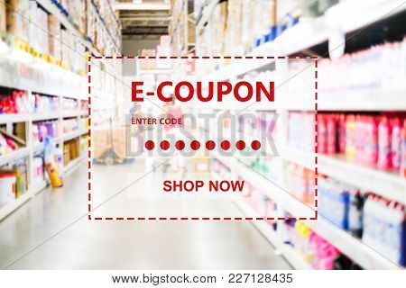 E-coupon, Discount Coupon Web Banner Over Blur Grocery Background, Shopping On Line Promotion, On Li