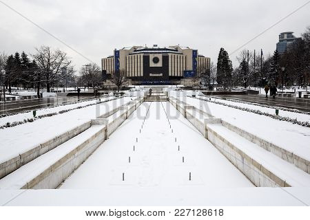 Sofia, Bulgaria - 15 January 2018: National Palace Of Culture (ndk) Is Seen In A Snowy Day. The Buil