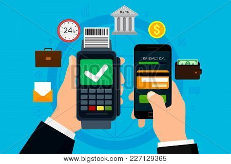 Business Mobile Payment Concept And Digital Marketing. Mobile Banking And E-commerce Concept. Vector