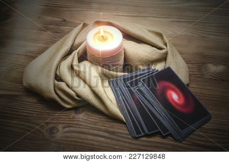 Tarot Cards Deck On Fortune Teller Desk Table Background. Future Reading Concept.