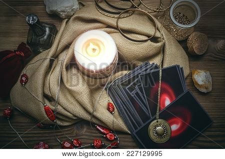 Tarot Cards On Fortune Teller Desk Table Background. Futune Reading Concept.