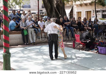 Buenos, Aires, Argentina - January 21, 2018: Unidentified Tango Dancers On San Telmo Flea Market In