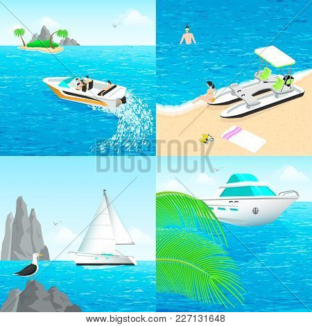 Boats Catamaran And Sailing Yacht On The Beach, Summer Scenery Places For Outdoor Activities