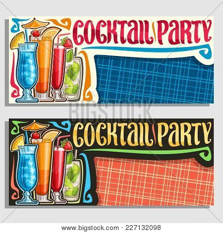Vector Banners For Cocktail Party With Copy Space, Layouts Invitation With 4 Colorful Refreshing Moc
