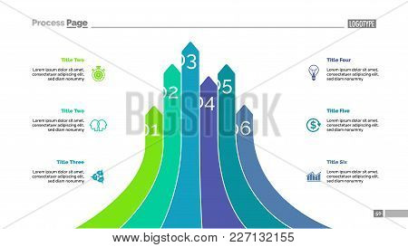 Bar Graph With Six Arrows. Analysis, Diagram, Comparison Graph. Marketing Concept. Can Be Used For T