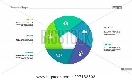 Donut Chart With Five Sections. Infochart, Swot Analysis, Slide Template. Reference Data Concept. Ca