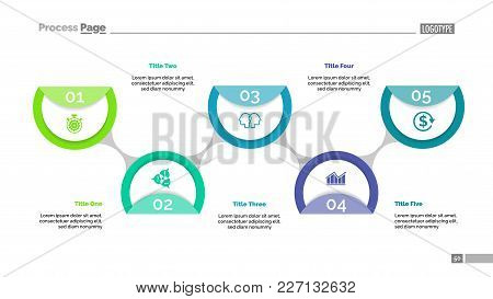 Flowchart With Five Circles. Flow Diagram, Plan, Development. Management Concept. Can Be Used For We