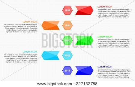 Modern Timeline Infographics With Arrow Coloured, Vector Illustrations, Easy Edit