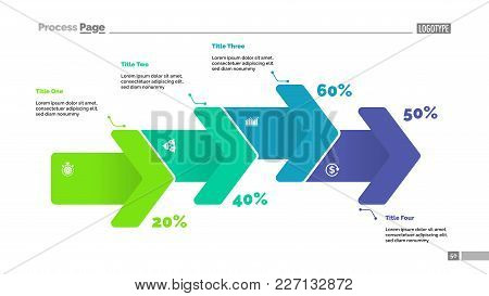 Percentage Process Chart With Four Arrows. Diagram, Comparison Chart, Flow Chart. Planning Concept.