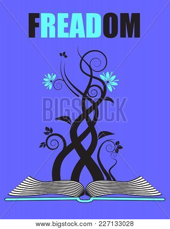 A Creative Play On Words With An Open Book And Floral Growth For Print Or Web