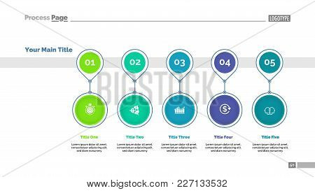 Timeline Chart Template With Five Positions. Diagram, Business Process, Workflow. Business Data Conc