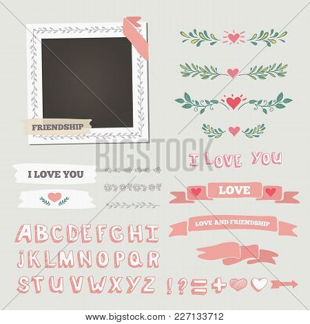 Wedding Vector Frame. This Photo Template Frame You Can Use For Wedding Invitation Picture Or Memori