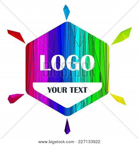 Logo Sale Tag. Abstract Triangle Rainbow Sticker For Branding And Decoration. Shopping Geometric Ban
