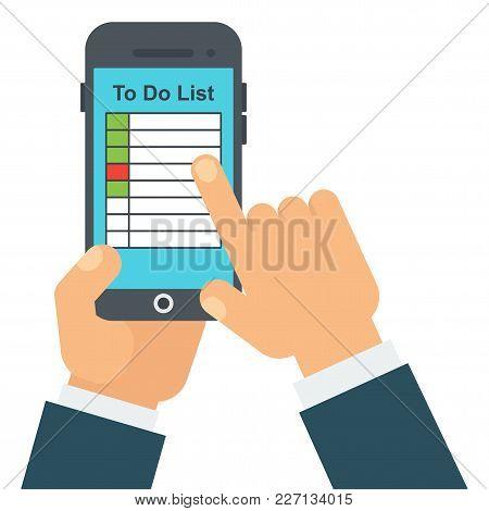 To Do List In Application For Smartphone. Program For Time Management. Hand Of Businessman Mark Task