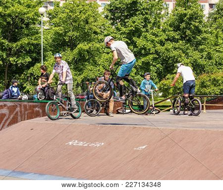 St. Petersburg, Russia - 15 June, Teenager In A Bicycle Jump, 15 June, 2017. Teenagers On Bicycles I