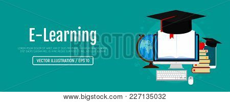 Education And Online Learning Web Banner. Online Training Courses, Distance Training, E-learning. Ve