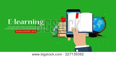Vector Online Education Concept. Horizontal Web Banner. Hand Holding Mobile Phone With Open Book.