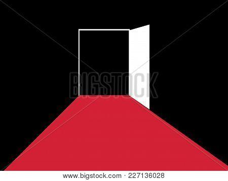 Red Path To The Open Door. Typographic Design. Vector Illustration