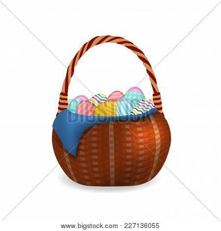 Wicker Basket With Easter Eggs Isolated On A White Background. Vector Illustration