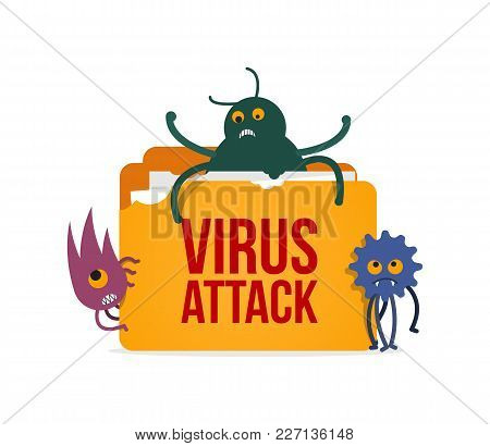 Virus Attack To Computer System Vector Illustration. Isolated System Folder Hacked Cartoon Monsters