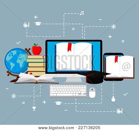 Concepts Of Education And E-learning. Web Banners.vector Illustration, Flat Design
