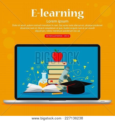 E-learning, Distance Studying And Education. Vector Illustration, Flat Modern Design.
