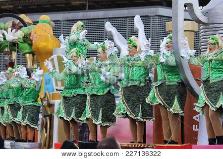 Aalst, Belgium, February 11 2018: Unknown Aalst Carnival Participants Dance In The Annual Parade. Th