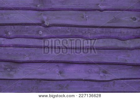 Horizontal Wooden A Wall Made Of Natural Wood (photo Is Toned In Ultra Violet)