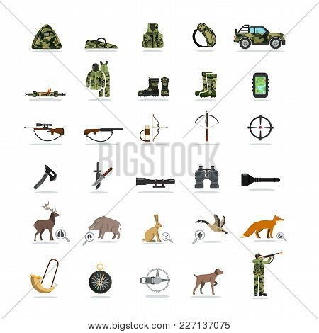 Hunting And Equipment Set Of Flat Icons, Animals And Their Tracks, Weapons