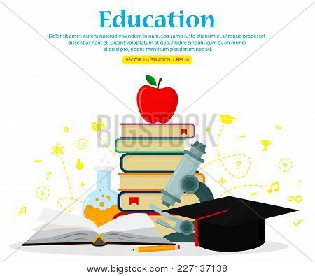 Education Set Icons Isolated On White Background. Concepts For Web Banners And Printed Materials. Ve