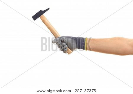 Gloved Hand Holding A Hammer Isolated On White Background