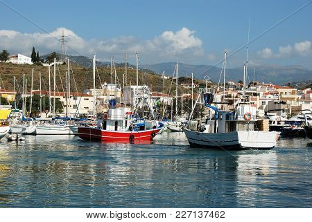 Caleta De Velez, Spain - October 27, 2008 - View Of Fishing Boats And Yachts Moored In The Harbour W