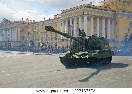 Saint Petersburg, Russia - May 09, 2017: A Heavy Self-propelled Artillery Mount