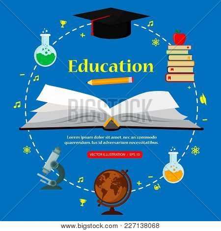 Subjects Education Around Open Book, Concept Of Education. Vector Illustration