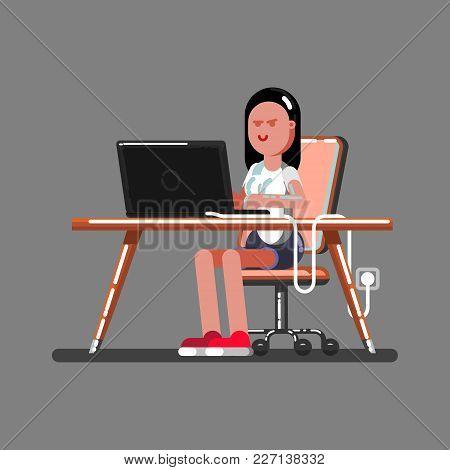 Girl Hacker In Work. Vector Illustration, Eps 10