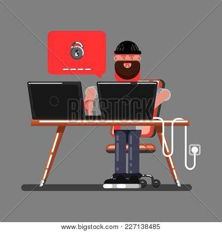 Hacker Cant Hack Somewones Personal Information. Vector Illustration, Eps 10