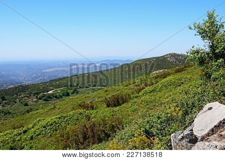 Elevated View Of The Mountains And Countryside In The Monchique Mountains, Algarve, Portugal, Europe